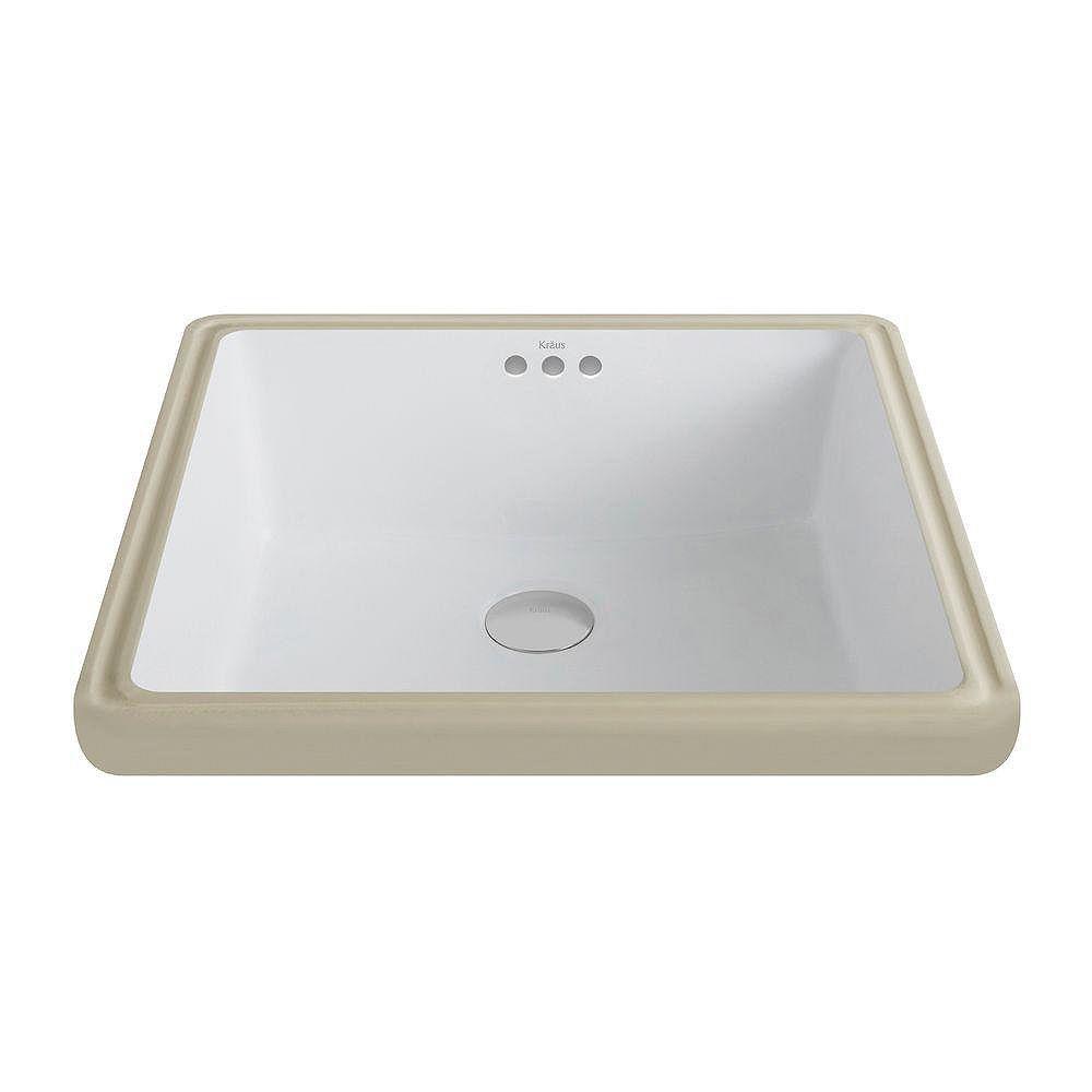Kraus Lavabo céramique blanc encastré ovale Elavo™avec trop-plein
