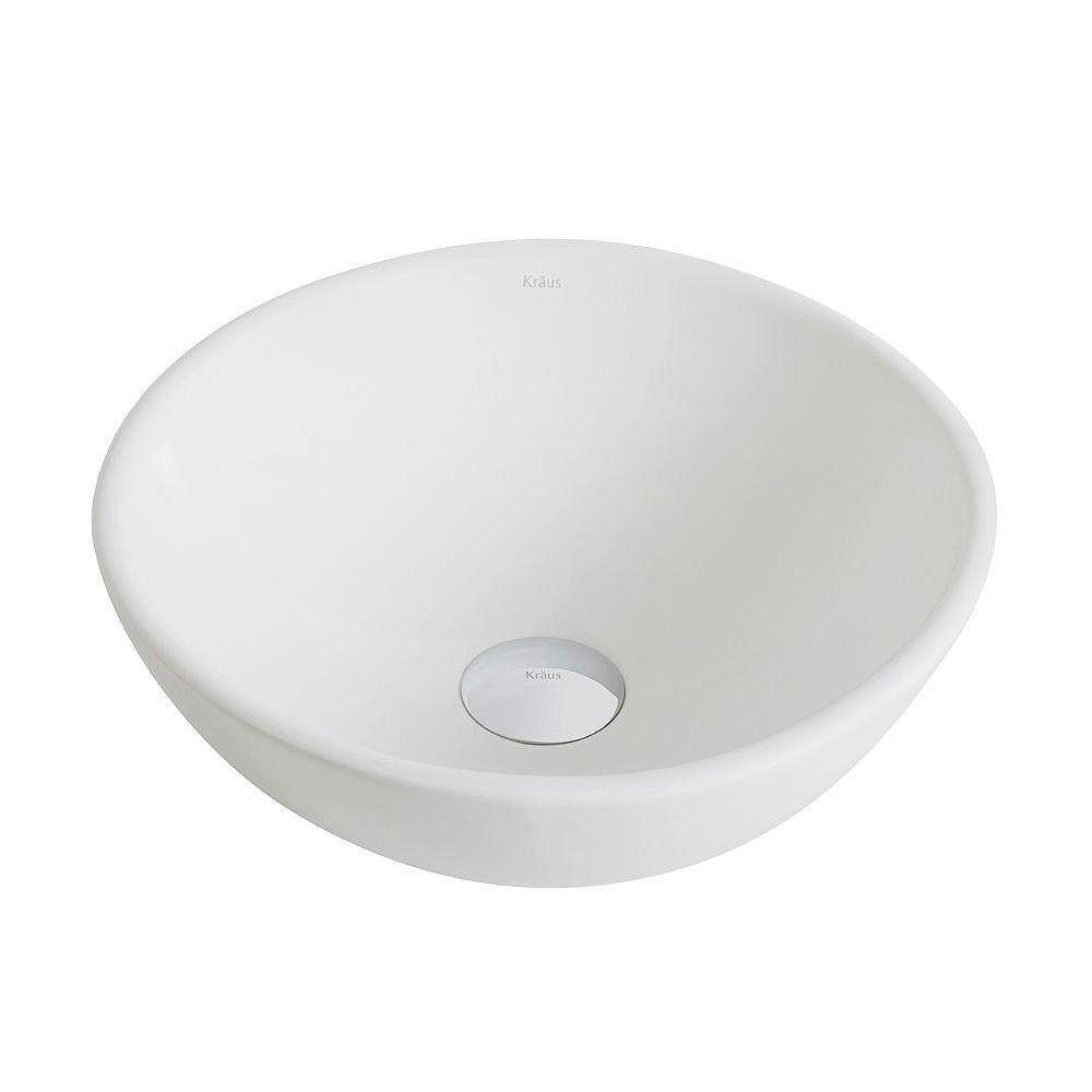 Kraus Petite vasque salle de bains ronde céramique blanche Elavo™
