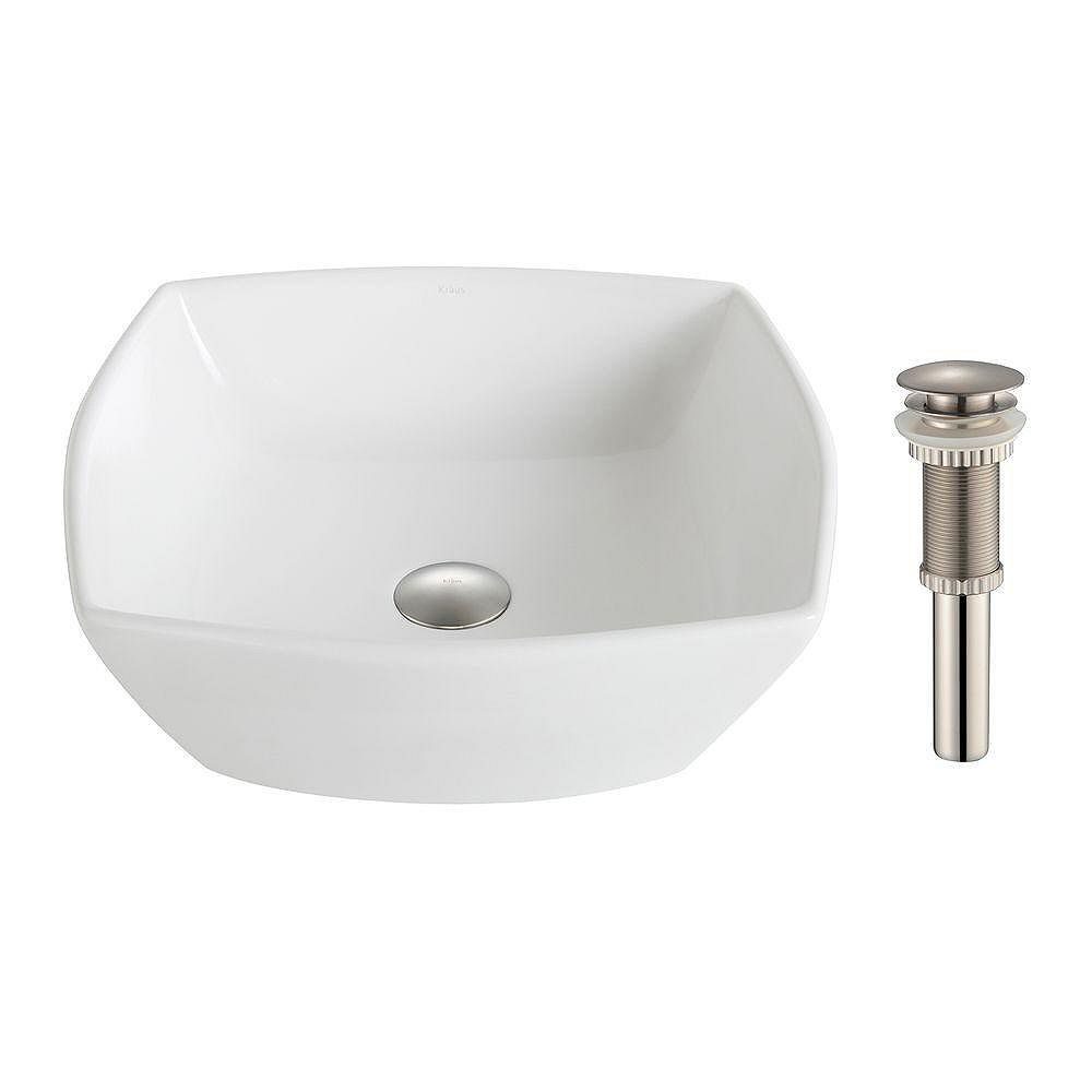 Kraus ElavoWhite 16.50-inch x 6.60-inch x 16.50-inch Square Ceramic Bathroom Sink with Drain