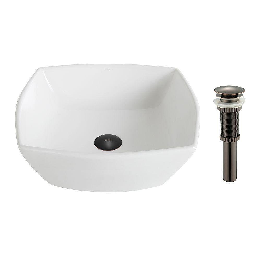 Kraus Lavabo céramique blanc carré évasé Elavo™avec drain en bronze huilé