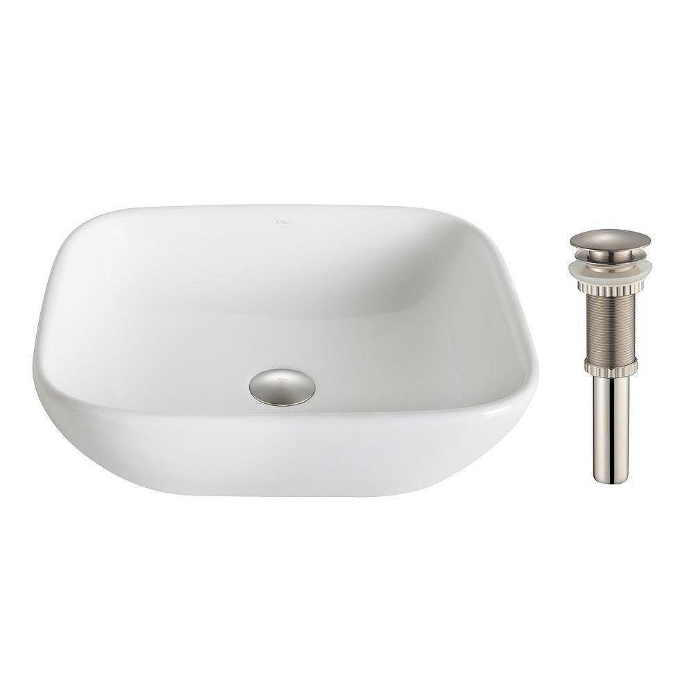 Kraus vasque de salle de bains en céramique carré doux Elavo™ blanc avec drain argent brossé