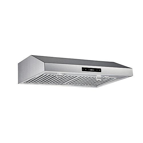 Hotte pour dessous d'armoire avec ventilateur de 460 PCM, 30 po, acier inoxydable