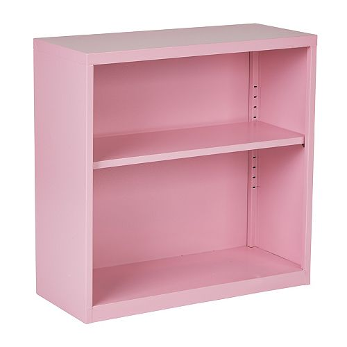 Office Star 28-inch x 28-inch x 12-inch Metal Bookcase in Pink