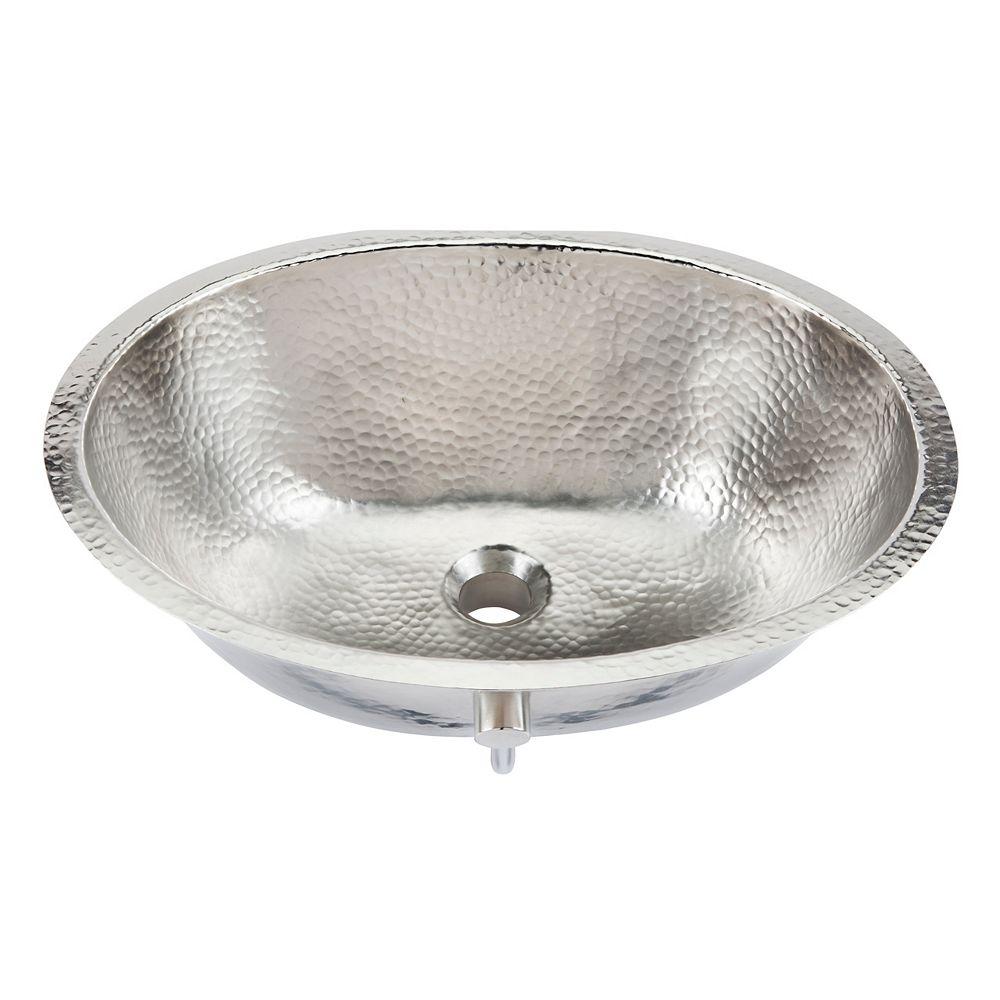 Sinkology Pavlov 19 1/4-inch Oval Bathroom Sink in Hammered Nickel