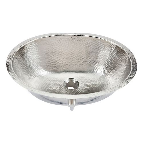 Pavlov 19 1/4-inch Oval Bathroom Sink in Hammered Nickel