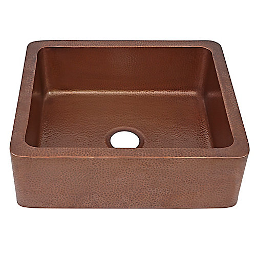 Monet Farmhouse Apron Front Handmade Copper Kitchen Sink 25 in. Single Bowl in Antique Copper
