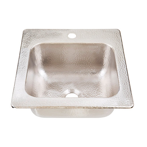 Homer Drop In Handcrafted 15 in. 1-Hole Bar Prep Sink in Hammered Nickel
