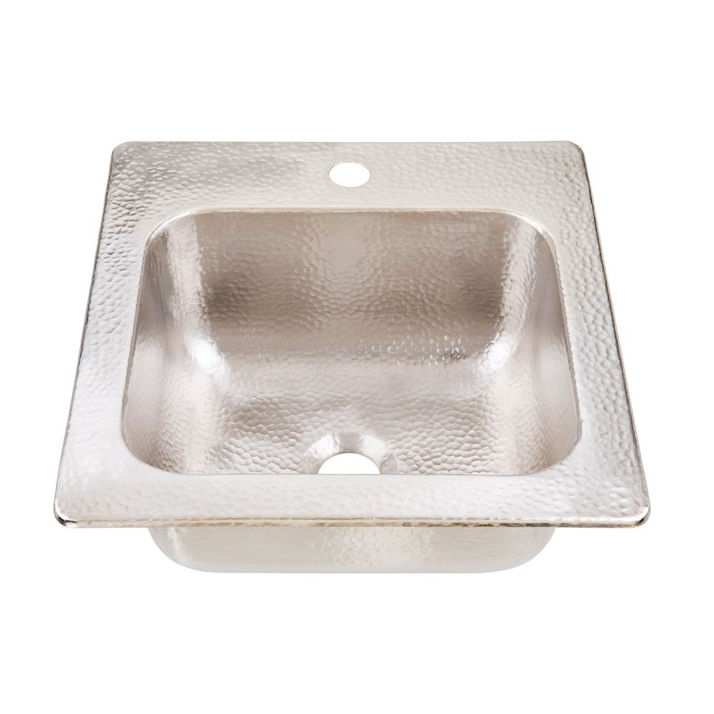 homer drop in handcrafted 15 in 1 hole bar prep sink in hammered nickel