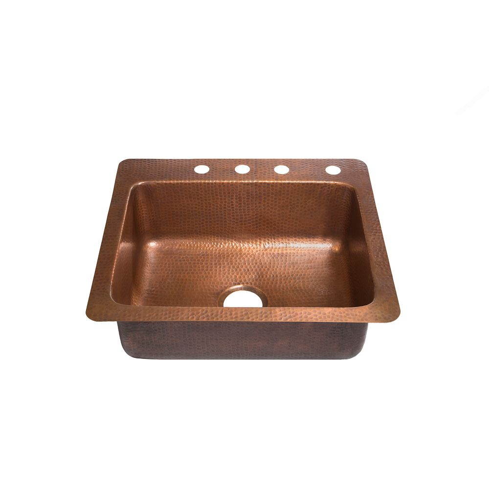 Sinkology Kahlo Drop In Handmade Pure Copper 25 in. 4-Hole Single Bowl Copper Kitchen Sink in Antique Copper