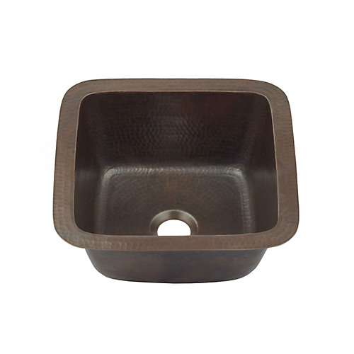 Pollock Undermount Handmade Pure Solid Copper 12 in. 0-Hole Bar Prep Copper Sink in Aged Copper