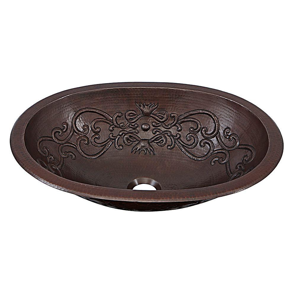 Sinkology Pauling 19-inch Dual-Mount Handmade Solid Copper Bathroom Sink with Scroll Design