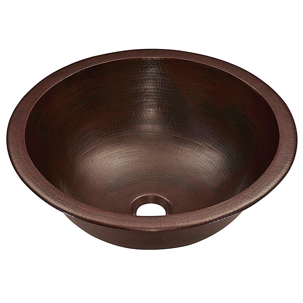 Sinkology Darwin 15-1 / 2 .   Évier a poser ou a encastrer pour salle de bain en cuivre vieilli