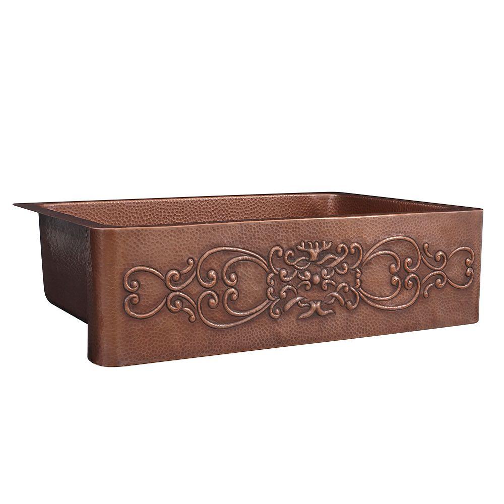 Sinkology Ganku Farmhouse Apron Front Handmade Pure Copper 33 in. Single Bowl Kitchen Sink with Scroll Design