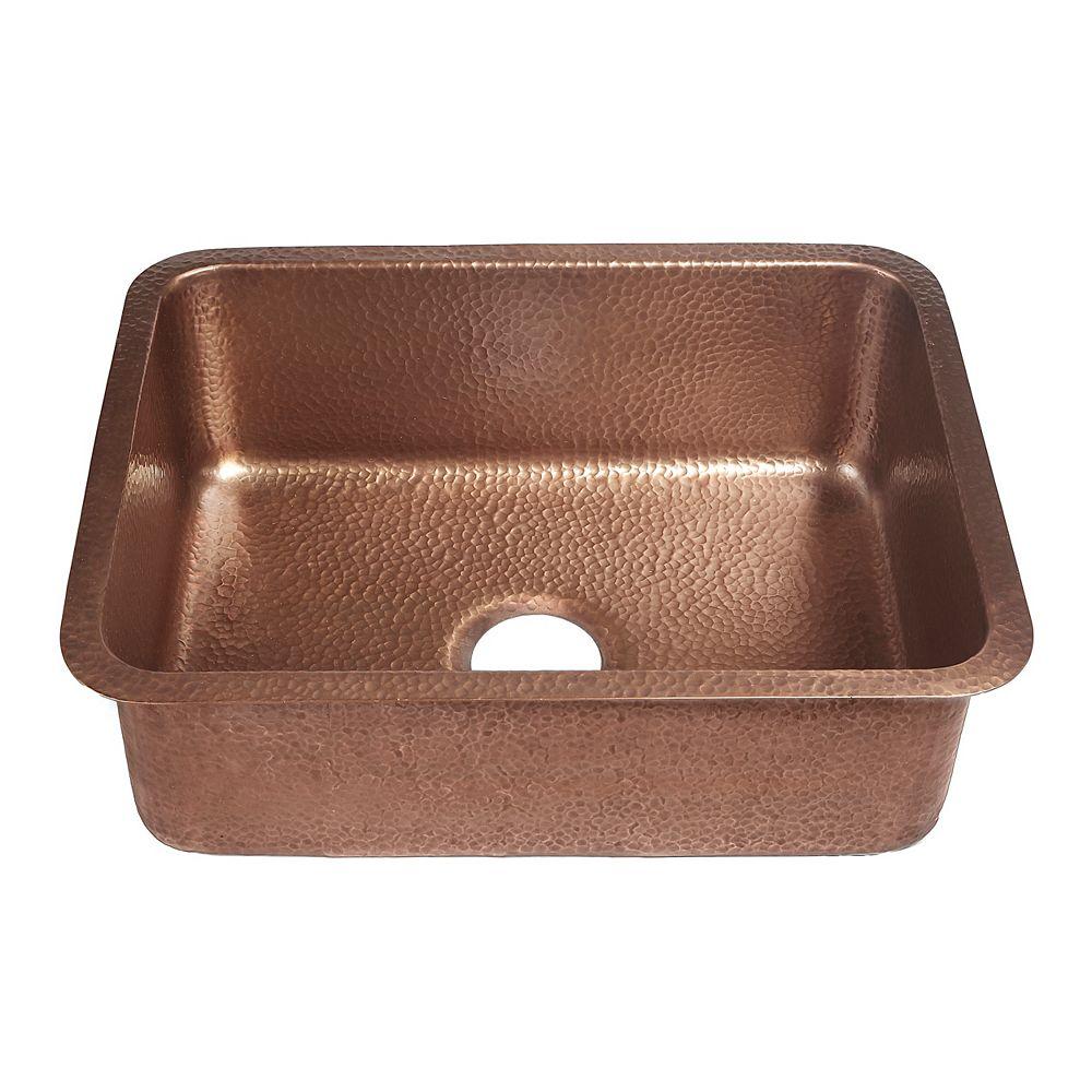 Sinkology Renoir Undermount Handmade Solid Copper 23 in. Single Bowl Kitchen Sink in Antique Copper
