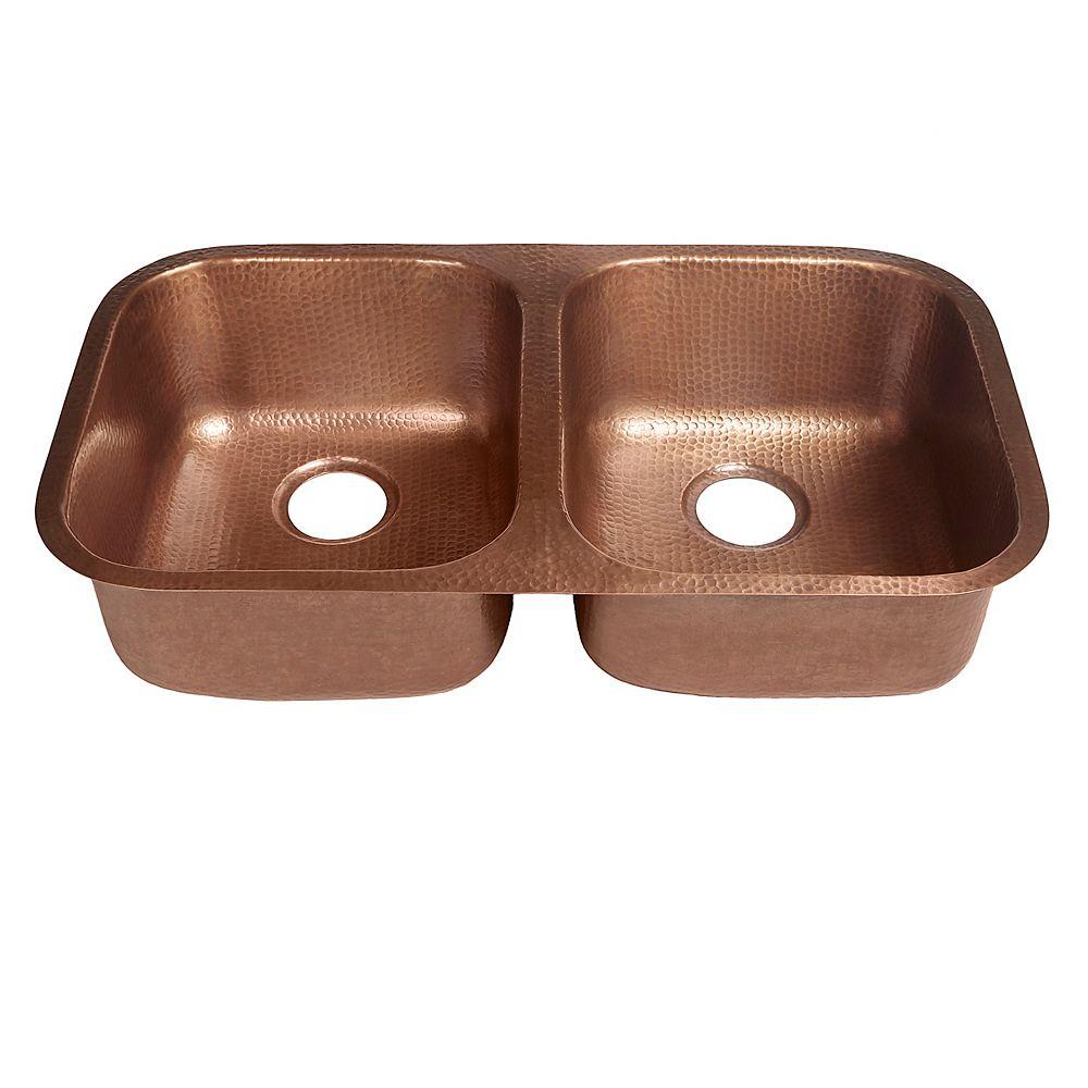 Sinkology Kadinsky Undermount Handmade Pure Copper 32-1/4 in. Double Bowl Copper Sink in Antique Copper