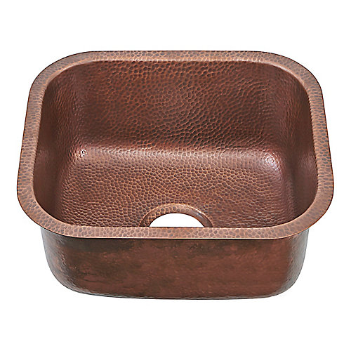 Sisley Pro Undermount Handmade Copper Sink 18.5 in. 0-Hole Bar Prep Sink in Antique Copper