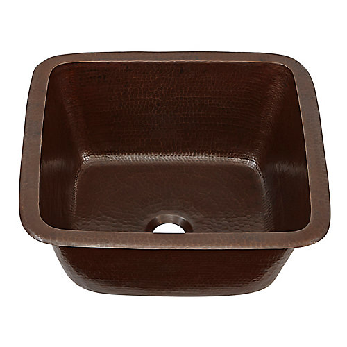 Greco Drop-In or Undermount Copper 15 inch Handmade Solid Perp/Bar Sink in Aged Finish