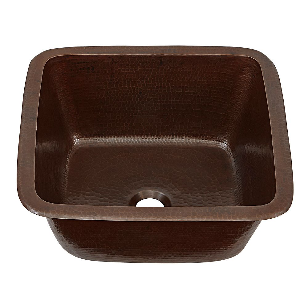 Sinkology Greco Drop-In or Undermount Copper 15 inch Handmade Solid Perp/Bar Sink in Aged Finish