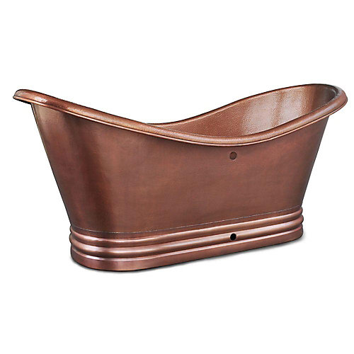 Euclid 6 ft. Handmade Pure Solid Copper Freestanding Double Slipper Bathtub in Copper with Overflow