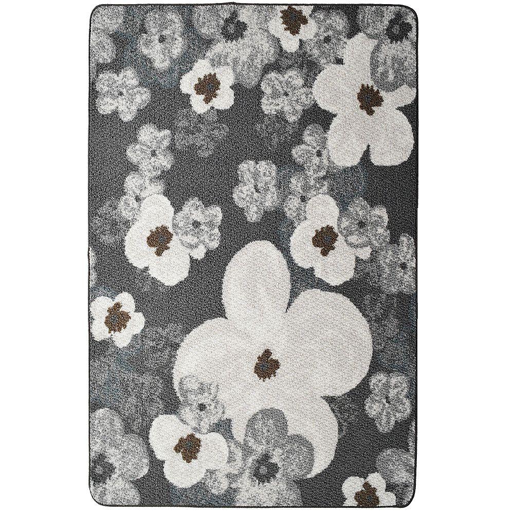 Lanart Rug Flowers Grey 3 ft. 4-inch x 5 ft. Rectangular Mat