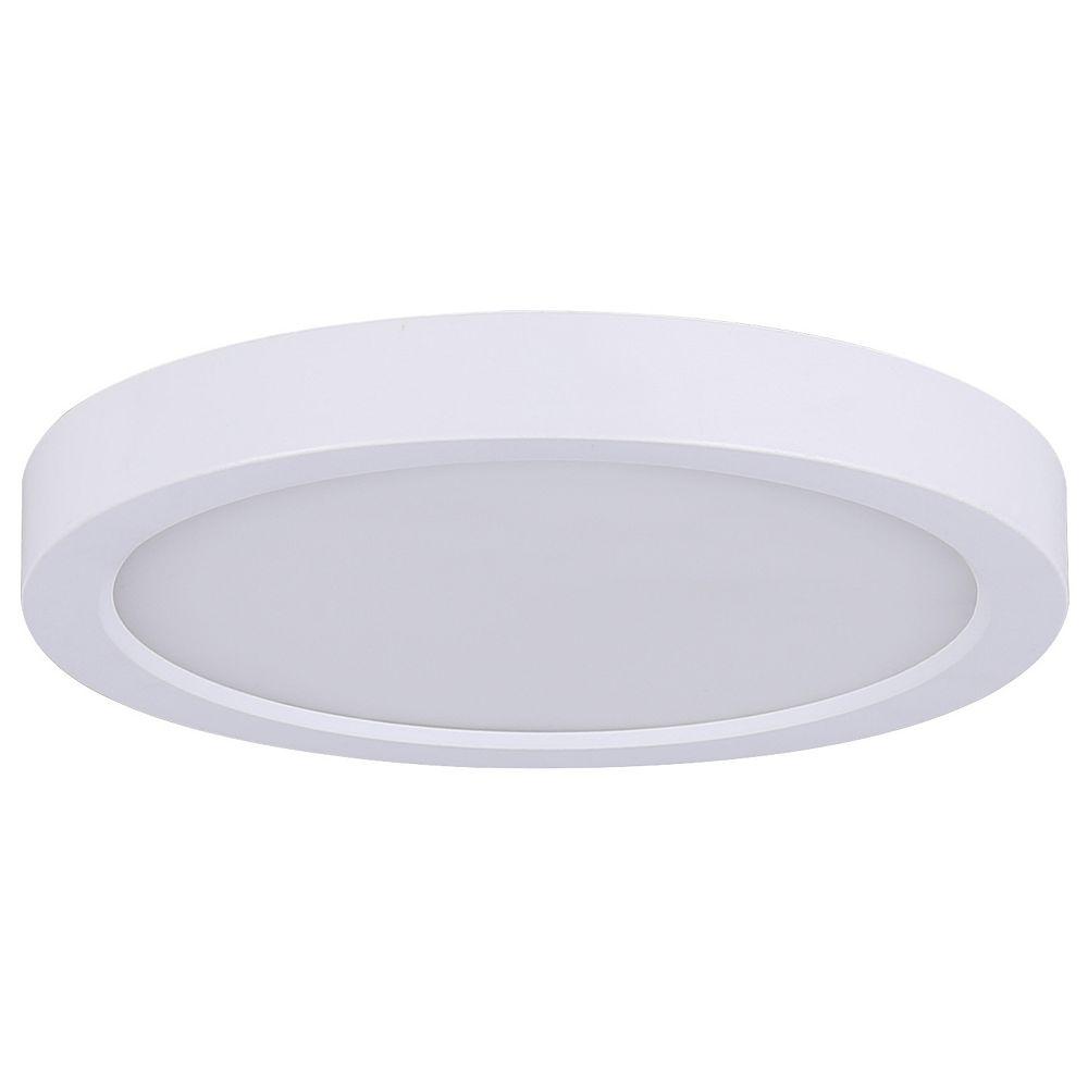 Hampton Bay Lampe à disque rond à DEL blanche de 7 po de 1 po de 15 W pour montage affleurant - Energy Star