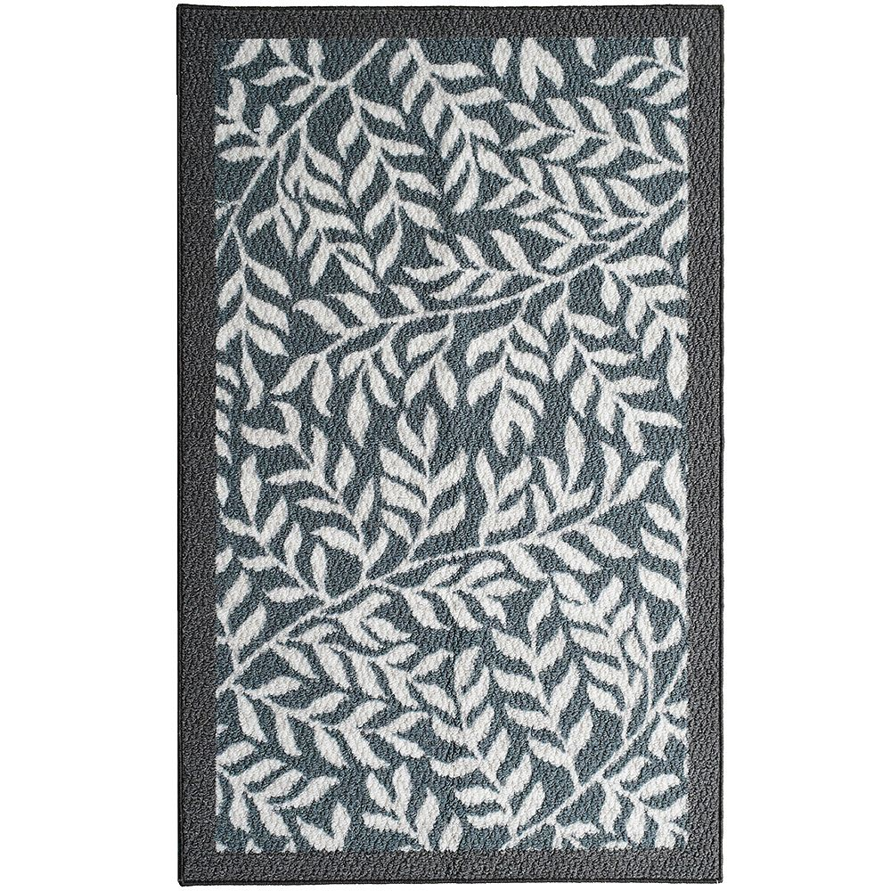 Lanart Rug Leaves Grey 2 ft. 4-inch x 3 ft. 9-inch Rectangular Mat