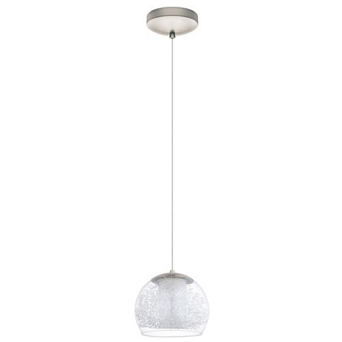 Altone 1 Luminaire Suspendu DEL 1L, Fini Nickel Mat avec Verre Clair et Givré- ENERGY STAR®