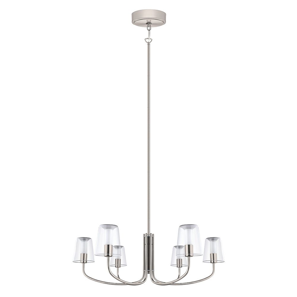 Eglo Noventa LED Chandelier Light 6L, Matte Nickel Finish With Clear & White Glass
