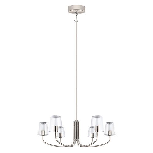 Noventa LED Chandelier Light 6L, Matte Nickel Finish With Clear & White Glass