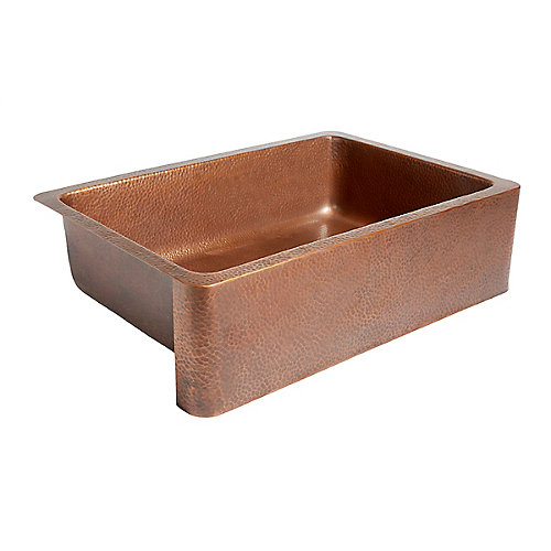 Adams Farmhouse Apron Front Handmade Solid Copper 33-inch Single Bowl Kitchen Sink in Antique Copper