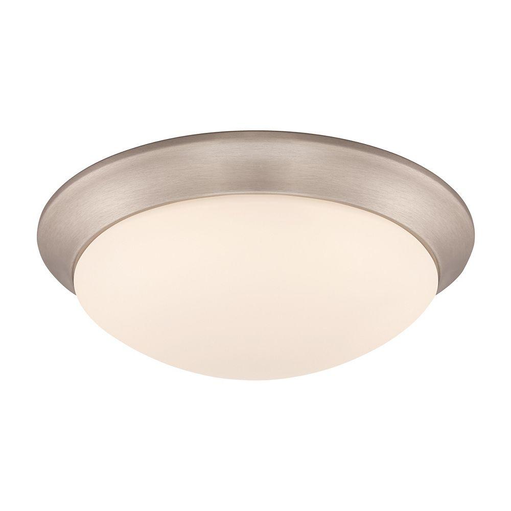Hampton Bay Plafonnier à DEL, nickel brossé et diffuseur en verre givré blanc, 28 cm (11 po).- ENERGY STAR®