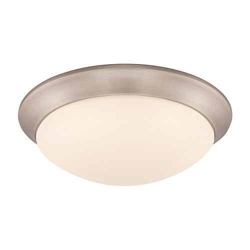 Plafonnier à DEL, nickel brossé et diffuseur en verre givré blanc, 28cm (11po).- ENERGY STAR®
