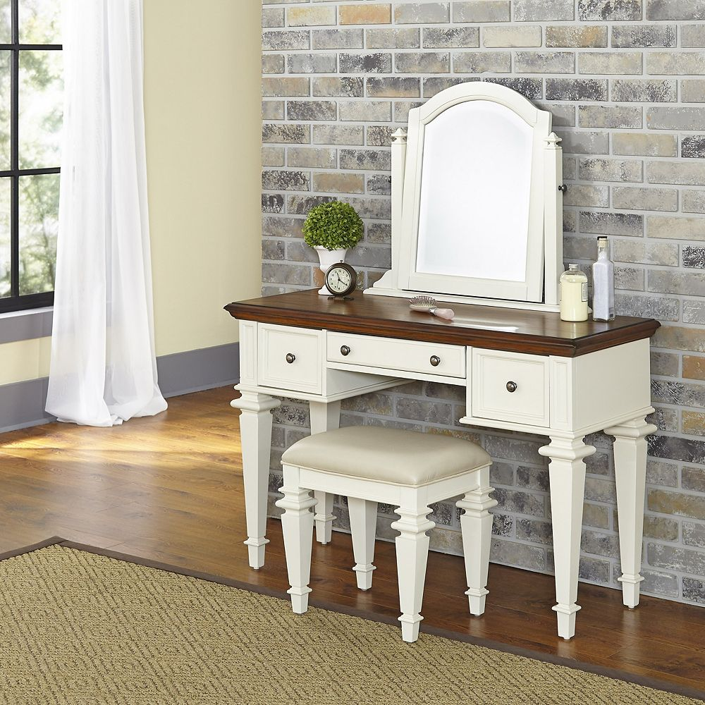 Home Styles Americana 46-inch W 3-Drawer Freestanding Vanity in Off-White With Top in Brown With Mirror