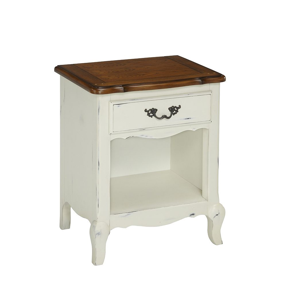 Home Styles The French Countryside 23.75-inch x 28-inch x 18-inch 1-Drawer Nightstand in White