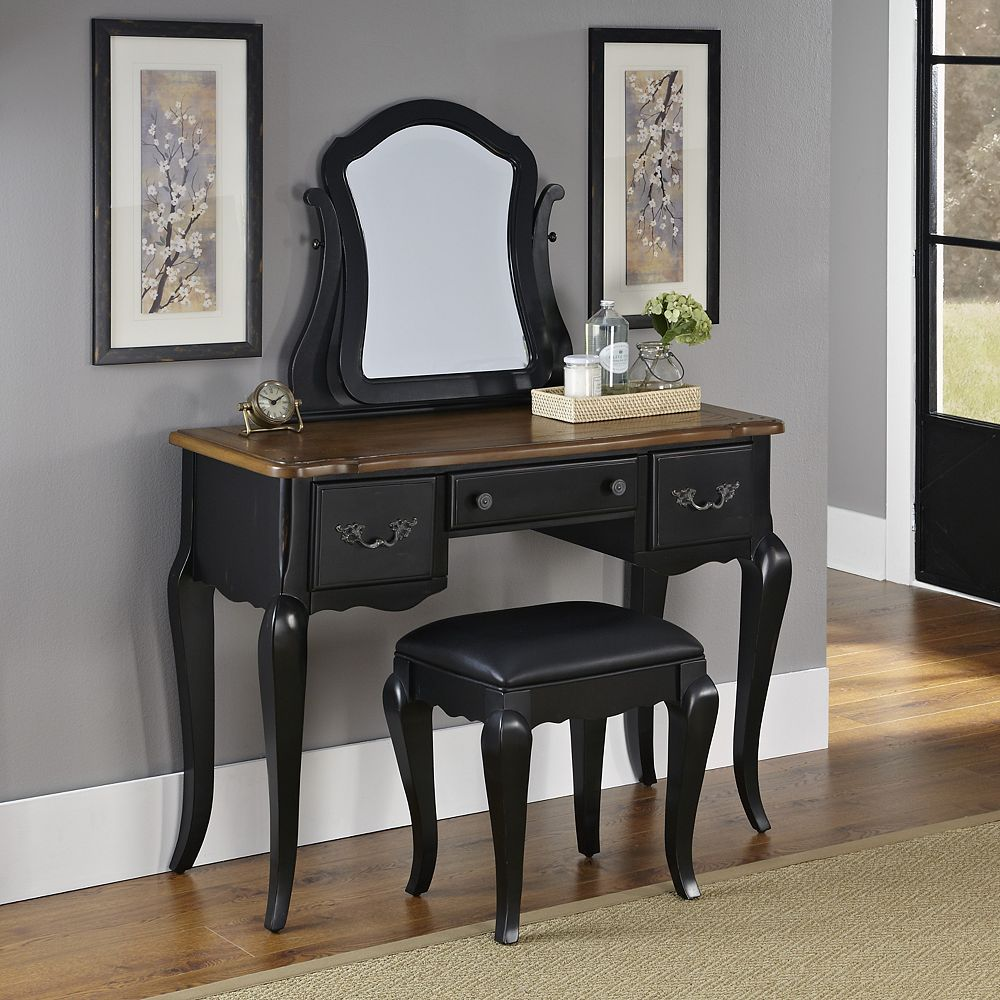 Home Styles French Countryside Collection 44-inch 3-Drawer Vanity in Black With Top in Brown With Mirror