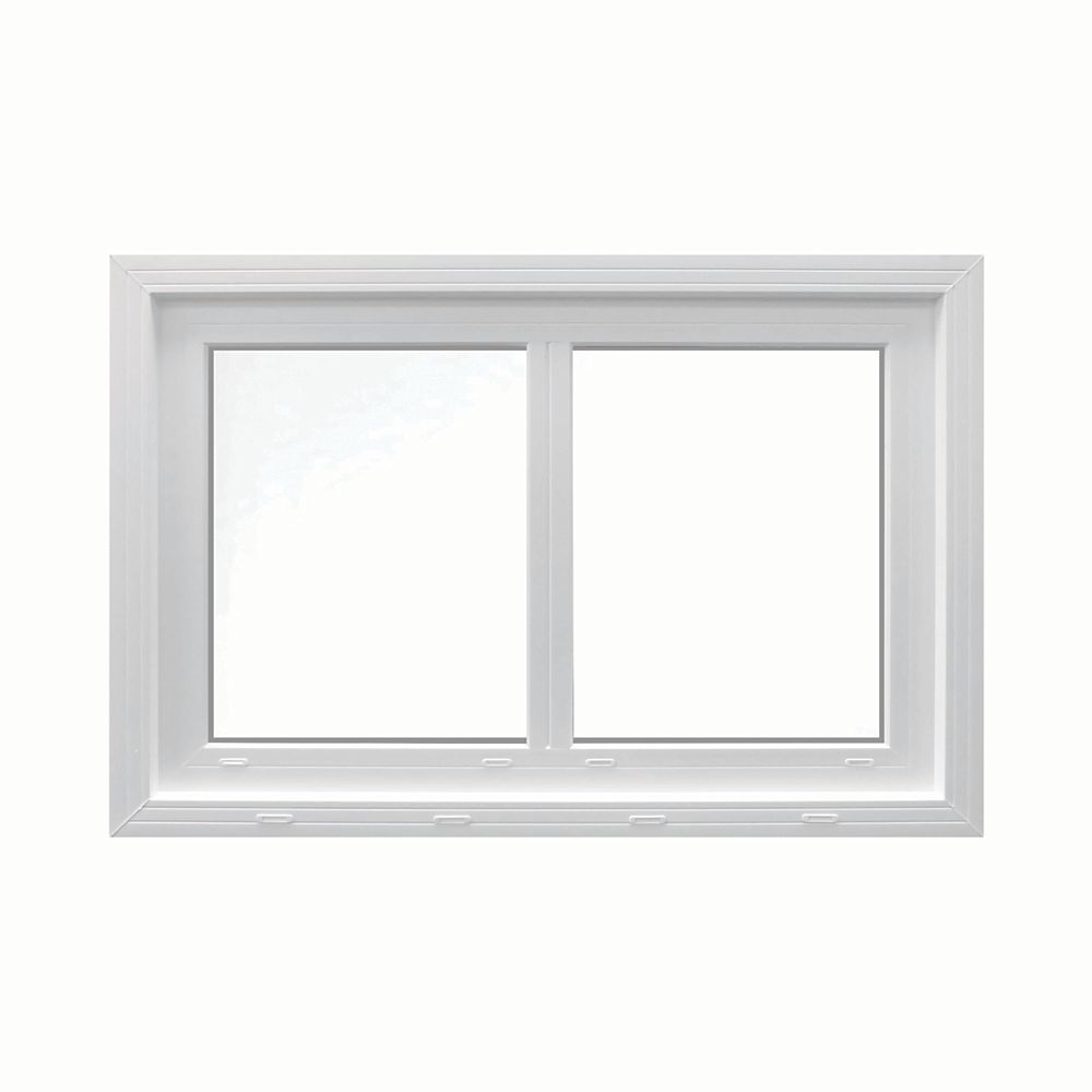 SOLENSIS 48-inch x 48-inch Vinyl Sliding Window with 3.25-inch Frame and Integrated Brickmould - ENERGY STAR®