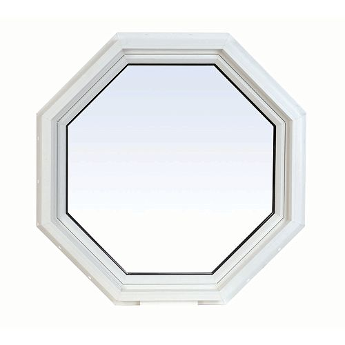 24 Inch X 24 Inch Vinyl Octagon Window with 3 1/4 Inch Frame and Integrated Brickmould - ENERGY STAR®