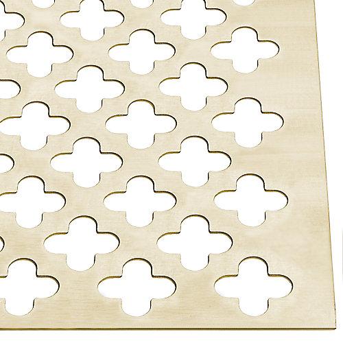 12 x 24 x 0.02-inch Decorative Aluminum Sheet - Brass Clover Leaf