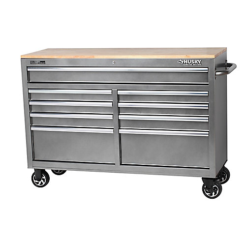 52-inch 9-Drawer Mobile Work Center in Metallic Silver
