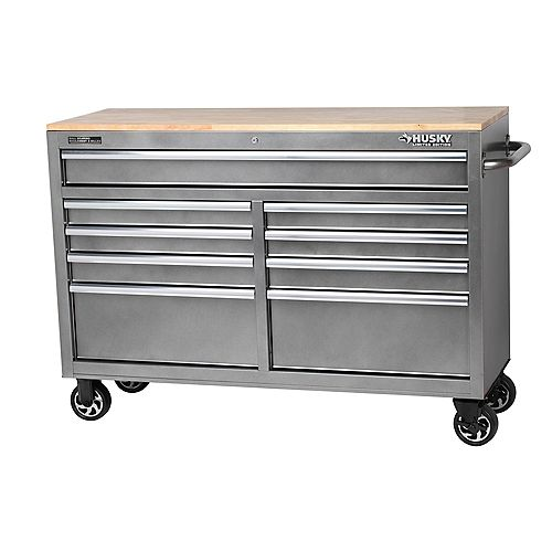 Husky 52-inch 9-Drawer Mobile Tool Storage Work Centre in Metallic Silver