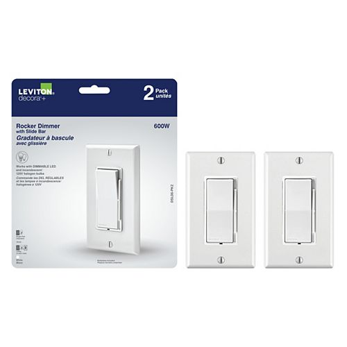 Decora Universal Rocker Dimmer with Slide Bar (2-Pack)