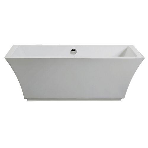 Tofino Acrylic Freestanding Rectangular Flat-Bottom Bathtub in White