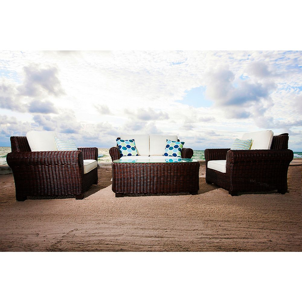 Patio Plus Palmetto 4-Piece Lounge Set With Love Seat