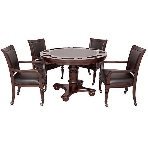 Bridgeport 2-in-1 Poker Game Table Set in Walnut Finish