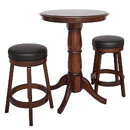 Oxford 3-Piece Hardwood Pub Table Set - Walnut Finish