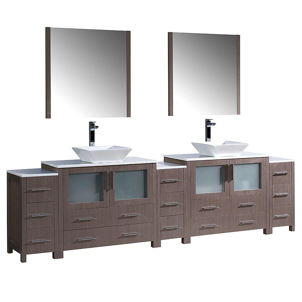Fresca Torino 108-inch W Double Vanity in Grey Oak with 3 Side Cabinets and Vessel Sinks