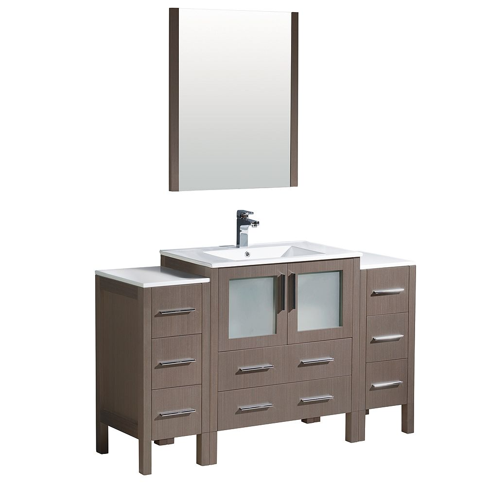 Fresca Torino 54-inch W Vanity in Grey Oak with 2 Side Cabinets and Integrated Sink