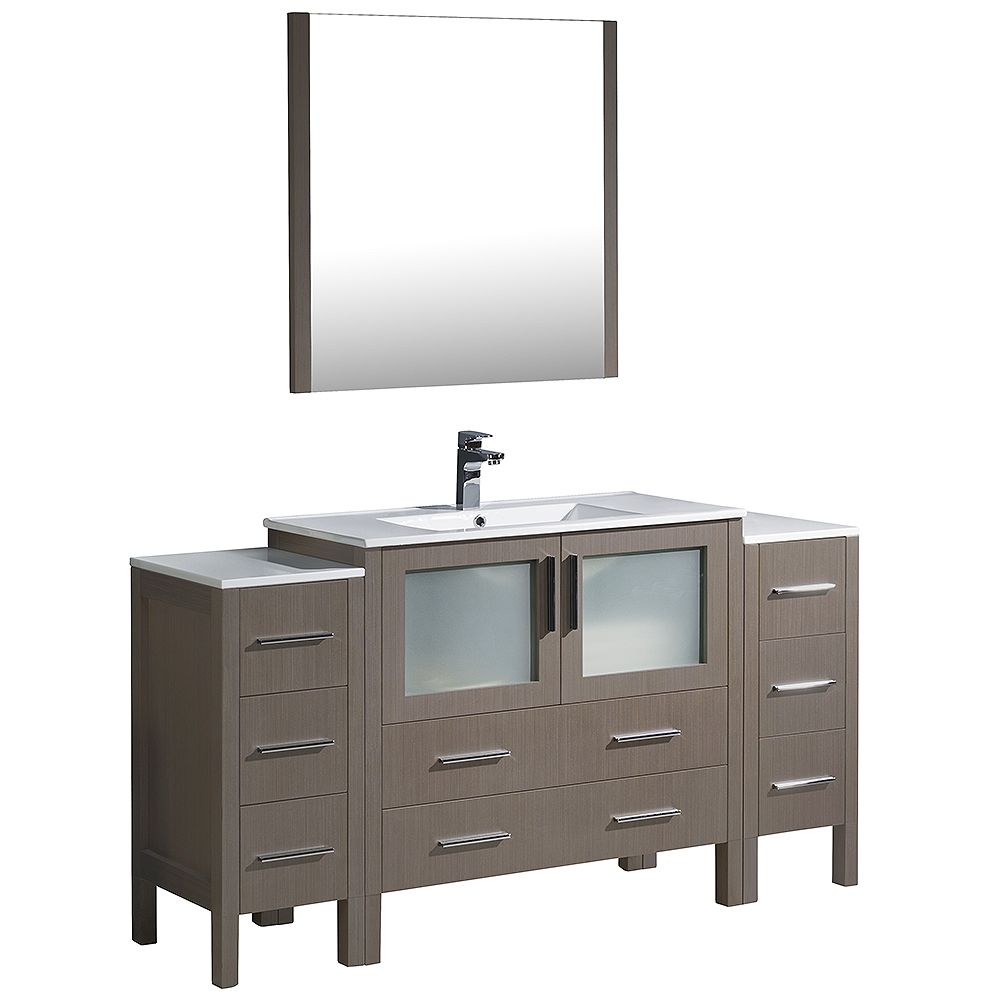 Fresca Torino 60-inch W Vanity in Grey Oak with 2 Side Cabinets and Integrated Sink