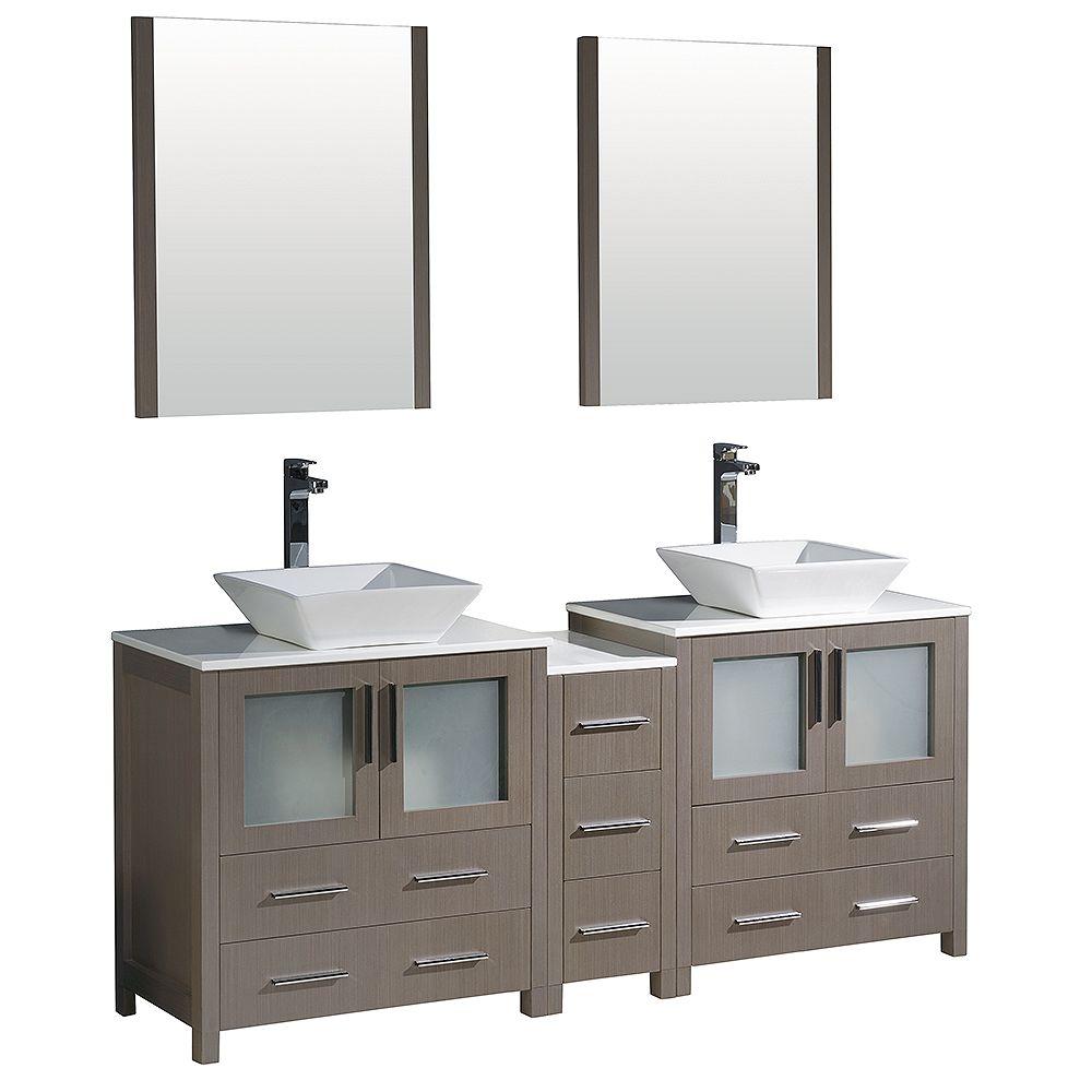 Fresca Torino 72-inch W Double Vanity in Grey Oak with Side Cabinet and Vessel Sinks