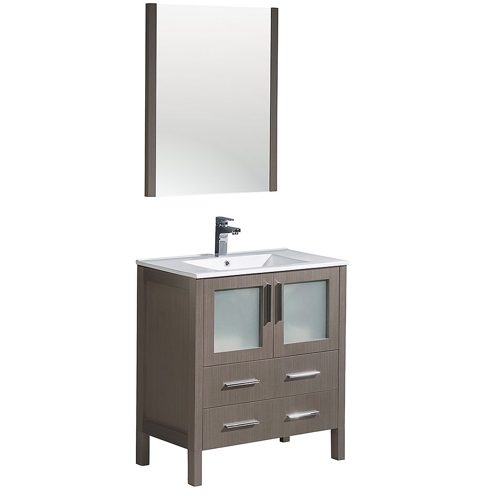 Fresca Torino 30-inch W Vanity in Grey Oak with Integrated Sink and Mirror